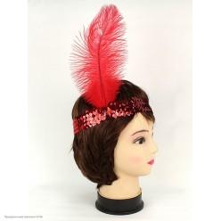 Повязка на голову Кабаре пайетки (красная)