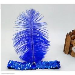 Повязка на голову Кабаре пайетки (синяя)