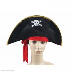 Шляпа Пирата с красными лентами детская (велюр)