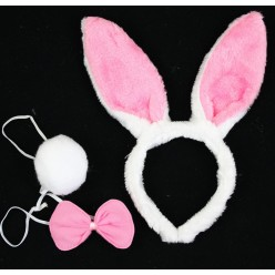Набор Зайца (уши, бабочка, хвост) бело-розовый