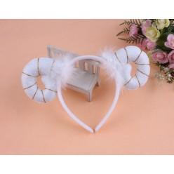Ободок Барашек (рожки с пухом) белый