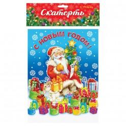 """Скатерть НГ """"Дед Мороз"""" 182*137см (клеёнка)"""