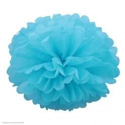 Помпон бумажный 30см голубой