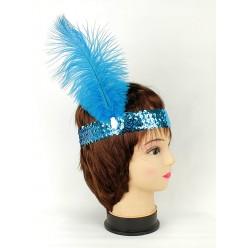 Повязка на голову Кабаре пайетки (голубая)