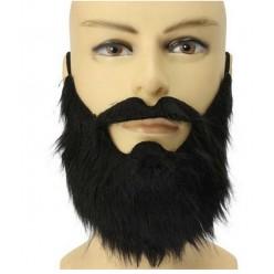 Борода Чёрная прямая с усами 20см (на резинке)