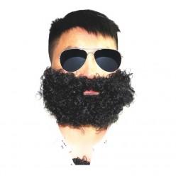 Борода Чёрная кучерявая с усами 12*27см