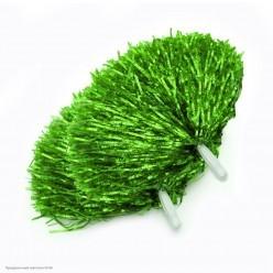 Помпоны для чирлидинга (фольга) ручки, зелёные