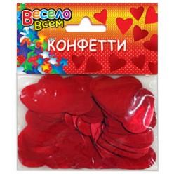 """Конфетти фольга """"Сердца"""" красные 3,3см 30гр"""