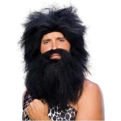 """Парик """"Дикарь"""" с бородой (чёрный) РС11005-ч"""