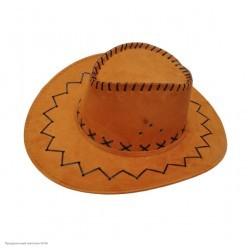 Шляпа Ковбоя коричневая (под замшу)