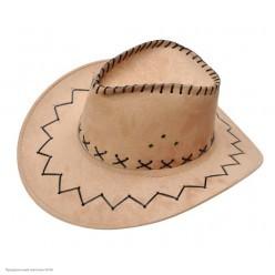 Шляпа Ковбоя светло-коричневая (под замшу)
