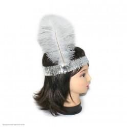 Повязка на голову Кабаре пайетки (серебро)
