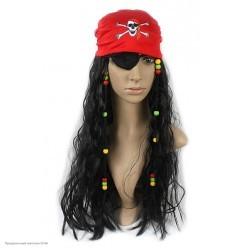 """Парик """"Пират"""" (бандана, волосы гофре, наглазник) 65см"""