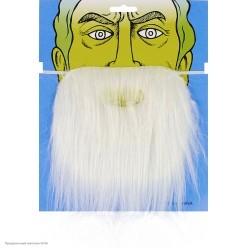 Борода Белая прямая 23*16см (на резинке)
