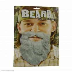 Борода Седая прямая с усами 15*15см (клеевая)