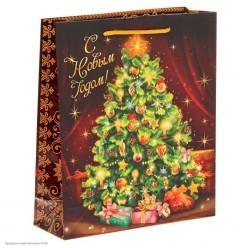 """Пакет подарочный ML 27*23*8см """"Новогодняя ёлочка"""""""