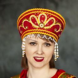 """Кокошник """"Мария"""" красный с золотом"""