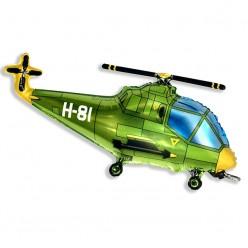 Шар фольга Вертолёт зелёный 57*96см