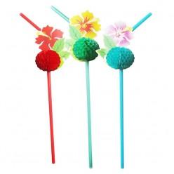 """Трубочки для коктейля """"Цветы Гаваи"""" 8шт/уп"""