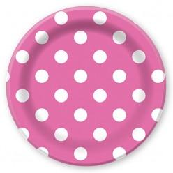 """Тарелки """"Горошек розовый"""" 23см 6шт, бумага"""