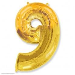 "Шар фольга Цифра ""9"" золотая 36""/91см"