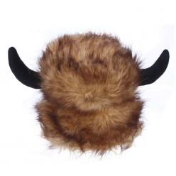 Шапка меховая коричневая с рогами