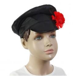 Картуз чёрный с цветком (детский) 53*55 см