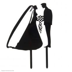 """Топпер для торта """"Жених и Невеста"""" чёрный (пластик) 12*12см"""