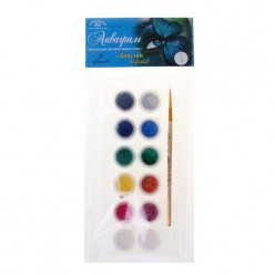 Аквагрим Палитра 6 цветов + 6 блёстки по 5мл, кисть