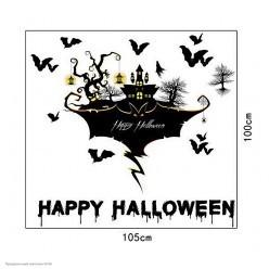 """Наклейки декоративные Хэллоуин 90*60 """"Дом с летучими мышами"""""""