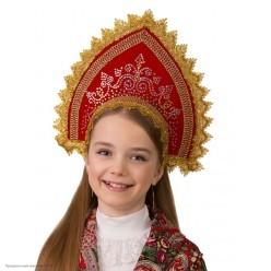 """Кокошник детский """"Забавушка"""" красный (ленты, резинка)"""