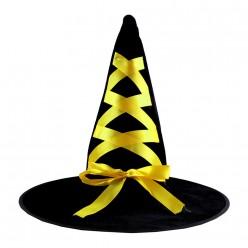 Колпак Ведьмы чёрный (велюр) жёлтая лента