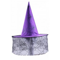 """Колпак Ведьмы с вуалью, рисунок """"Паутина"""" фиолетовый"""