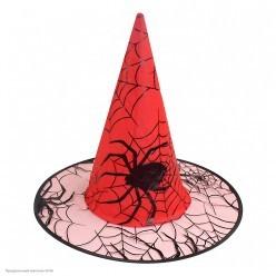 Колпак Ведьмы рисунок Пауки (красный)