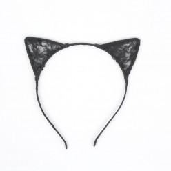 Уши Кошки кружевные (чёрные) 15*15см
