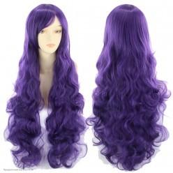 Парик волны с чёлкой 80см матовый, фиолетовый тёмный