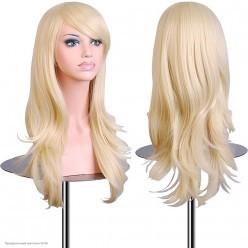 Парик волны с чёлкой 65см матовый, адаптивный, блонд