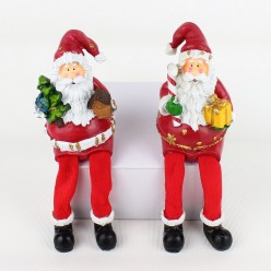 Фигурка Санта в красном, ноги висят (полистоун) 10,5*7*6см