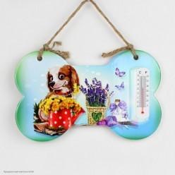 Подвеска Кость с термометром Собака (керамика) 22,5*14см