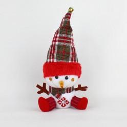 Мягкая фигура Дед Мороз, Снеговик, колпак в клетку 30*16*11