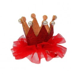 Мини-корона на зажиме мягкая 4*6*5см, цвета микс