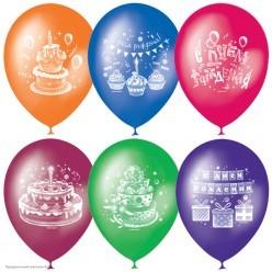"""Шар """"С Днём рождения. Торт"""" 2ст/рисунок 12""""/30см"""