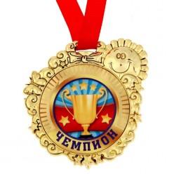 """Медаль детская """"Чемпион"""" 7см (пластик)"""
