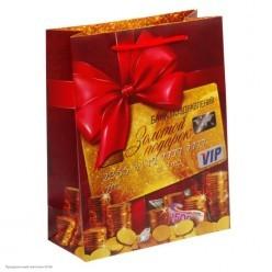 """Пакет MS 18*23см ламинация """"Золотой подарок"""""""