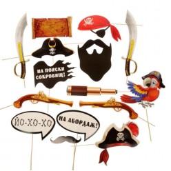 """Набор фотобутафории """"Пиратская вечеринка"""" (15 предметов)"""
