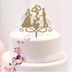 """Топпер для торта """"Кольца"""" золото (пластик) 13*18см"""