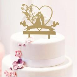 """Топпер для торта """"Любовь навсегда"""" золото (пластик) 13*18см"""