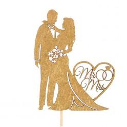 "Топпер для торта ""Mr&Mrs"" золото (дерево) 22*11см"