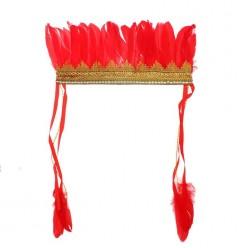 Индейский головной убор (красные перья) 17*30см