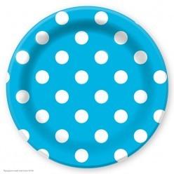 """Тарелки """"Горошек голубой"""" 23см 6шт, бумага"""